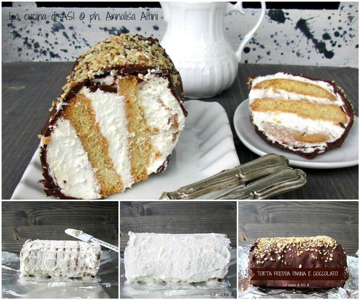 La torta fredda panna e cioccolato è una torre di biscotti farciti con panna montata e rivestita di cioccolata fusa..DA URLO! Ricetta dolce La cucina di ASI