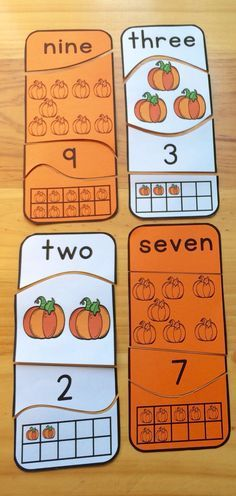 Pumpkin Number Puzzles (1-20). Color and black line. Self-correcting, perfect for individual work.