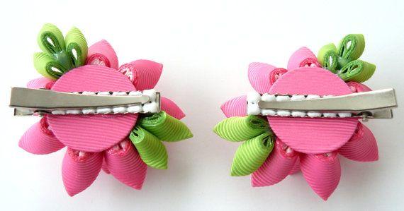 Flores de tela Kanzashi. Juego de 2 pinzas de pelo. Color de