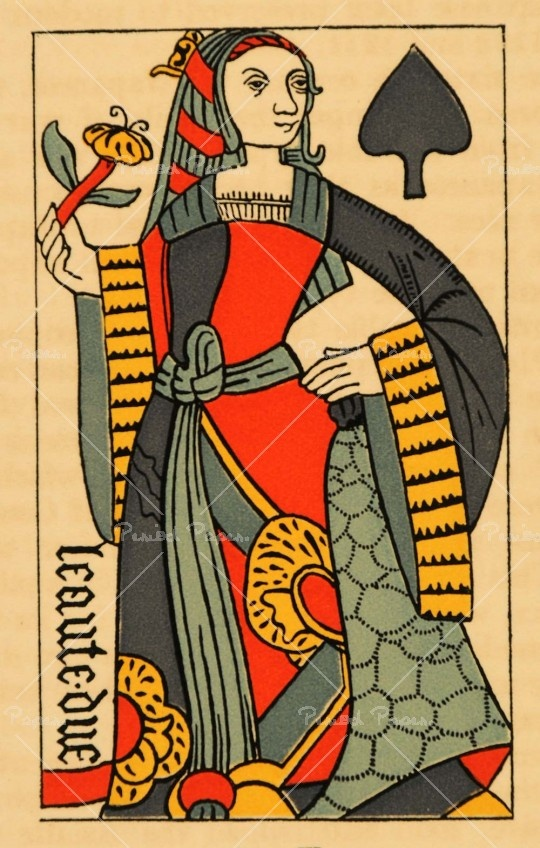 What a gorgeous playing card, with charm reminiscent of the real ancient cards. Her look is so fierce and direct.  Queen of spades