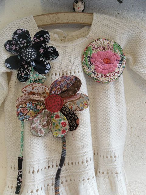 Julie Arkell brooches made by 'ticking stripes'
