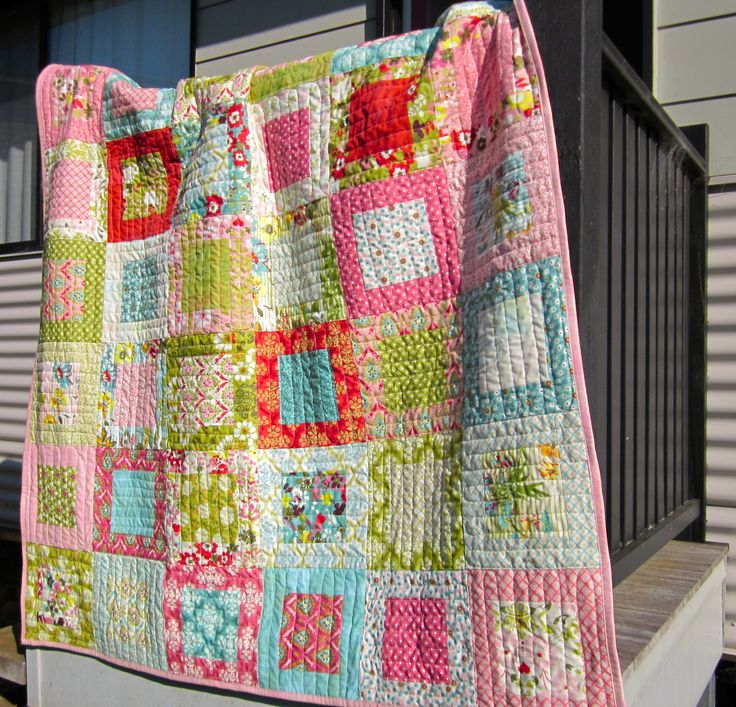 "Moda pre-cut layer cake quilt  This is a great way to use up layer cakes and 5.5"" squares + 2.5"" strips for charity quilts."