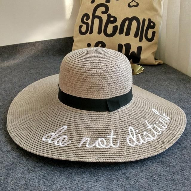Wide Brim letter Sun Hats- Foldable Large Straw Summer Holiday Beach Cap  for Women  HatsForWomenDerby f6106d548055