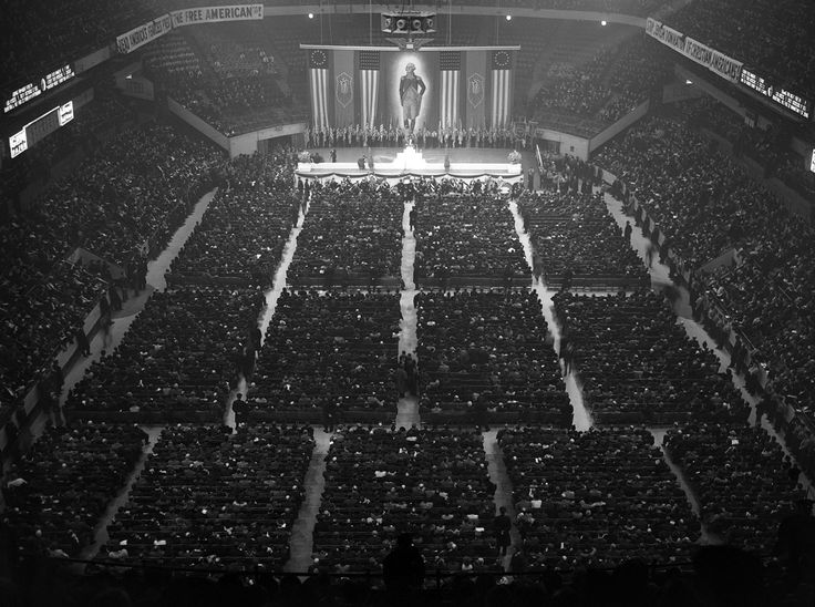American Nazis in the 1930s. 20,000 attend a German American Bund Rally at New York's Madison Square Garden on February 20, 1939.