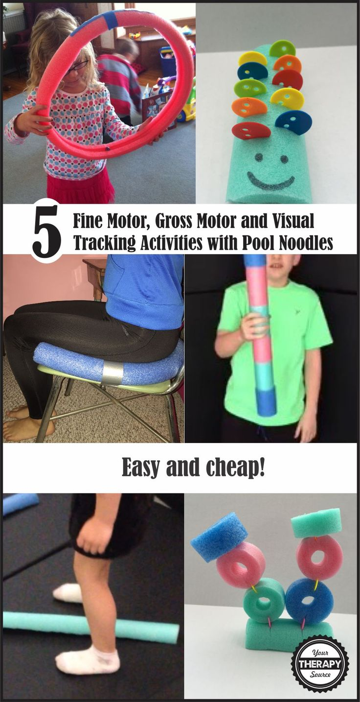 5 fine, gross and visual tracking activities with pool noodles