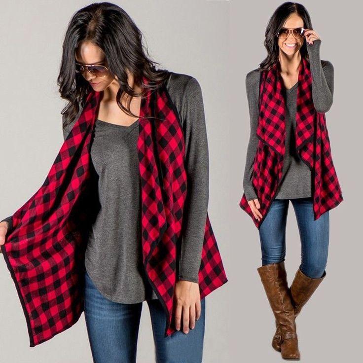 Fashion Women Sleeveless Check Plaid Cardigan Top Vest Jacket Loose Coat Outwear #UnbrandedGeneric #BasicCoat