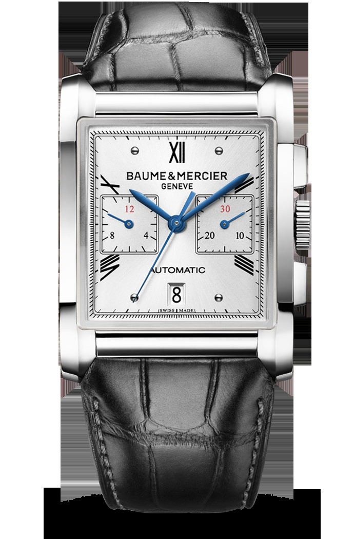 Discover the Hampton 10032, a striking a balance between modernity and classicism. This watch features a manufactured automatic chronograph movement, a sun-satin finished silver-colored dial, blued steel hands and a black alligator leather strap. Designed by Baume et Mercier, Swiss Watch Maker.