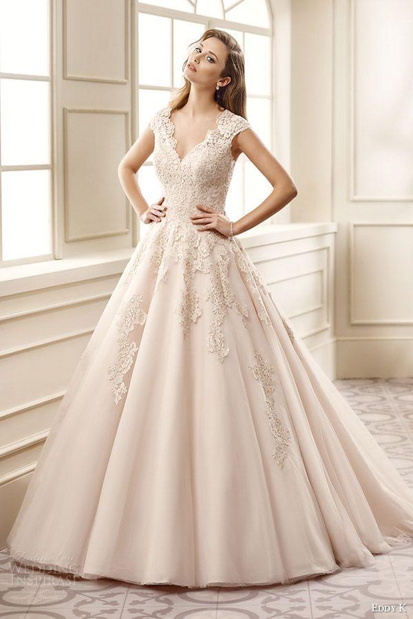eddy k bridal 2016 cap sleeves sweetheart a line wedding dress (ek1065) mv champagne color romantic