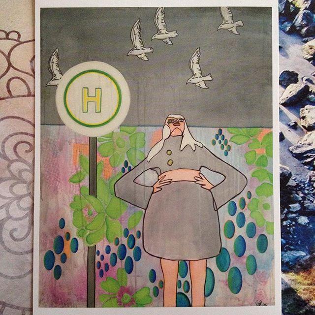 #nature#naturelovers#natur#postcard#postcards#postkarte#zeichnung#illustration#picture#art#artwork#swarm#swarmofbirds#vigelschwarm#busstop#bushaltestelle#sky#himmel#flowers#blumen#birds#vögel#streetsign#straßenschild#blicknachoben#nachobenschauen#woman#frau#happinez#achtsamkeit
