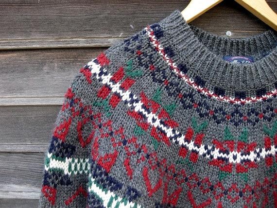 Allen Solly Wool Gray Vintage Ski Sweater Fair Isle