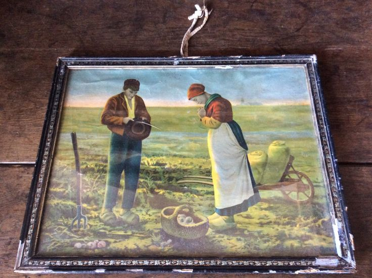Antique French The Angelus Jean-Francois Millet harvest farmer couple praying print in glass fronted frame circa 1910s Purchase in store here http://www.europeanvintageemporium.com/product/antique-french-the-angelus-jean-francois-millet-harvest-farmer-couple-praying-print-in-glass-fronted-frame-circa-1910s/