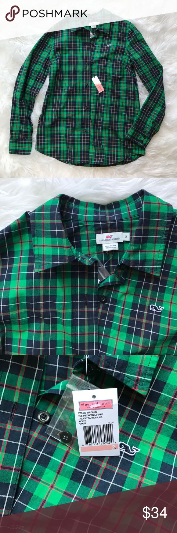 • Vineyard Vines • Green Plaid Whale Shirt Size 2 - Vineyard Vines - Plaid Shirt - Size 2 - New with Tags Vineyard Vines Tops Button Down Shirts