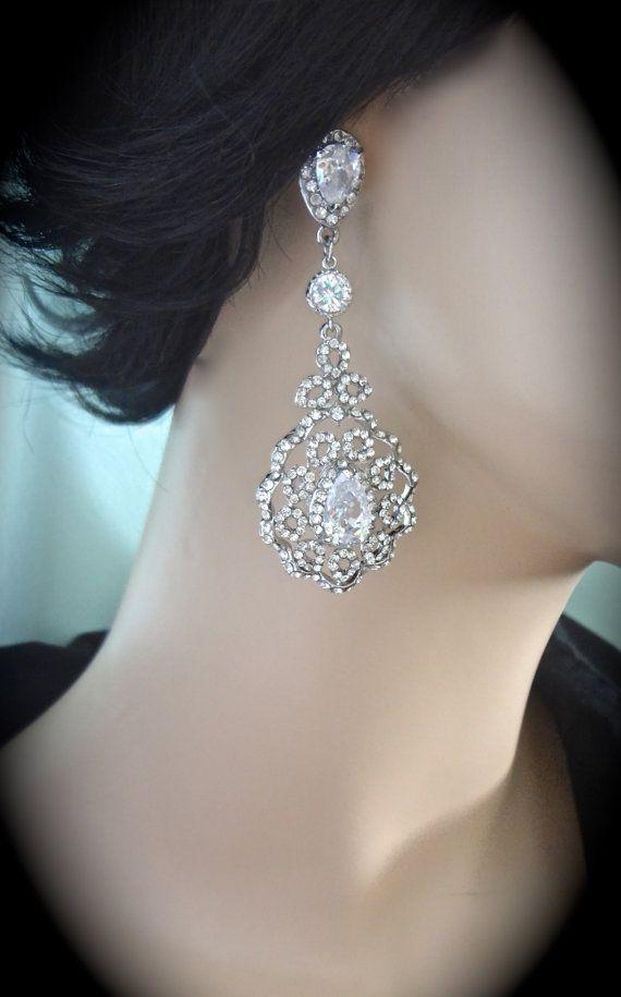 Rhinestone earrings Large Long ELEGANT by QueenMeJewelryLLC, $64.99