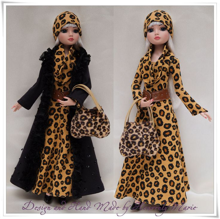 Coat Animal Print Dress Outfit set for Tonner Ellowyne by Heavenly Marie #tonner #ClothingAccessories