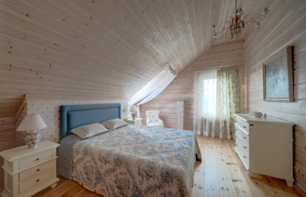 Фото: спальня в стиле прованс на мансарде
