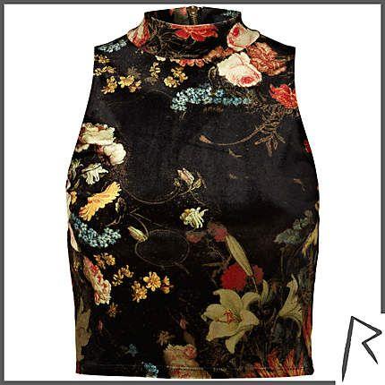 #RIHpintowin #RihannaforRiverIsland Black Rihanna floral turtle neck crop top. #RIHpintowin click here for more details >  http://www.pinterest.com/pin/115334440431063974/