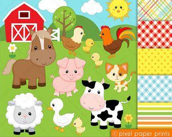 Farm Animals Digital Stamps por pixelpaperprints en Etsy
