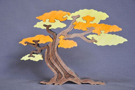 Beautiful Twisted Tree Puzzle Toy Hand Cut Color by Puzzimals