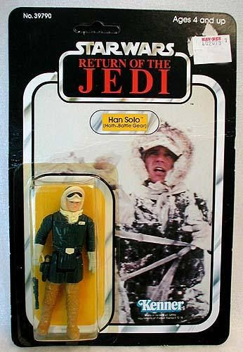 STAR WARS Return of the Jedi - HAN SOLO - HOTH BATTLE Snow GEAR Action Figure  Figure Name: HAN SOLO - HOTH BATTLE GEAR  Description: 1st ISSUE in this state. 1983 This RETURN OF THE JEDI | ROTJ Action figure is in plastic bubble mounted on single logo packaging. 77 action figures