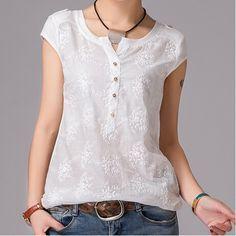 Más del tamaño S-2XL ropa de mujer corto manga del v-cuello ocasional del verano blusas Vestidos Vestidos de la novedad de punto blusa del bordado camisetas