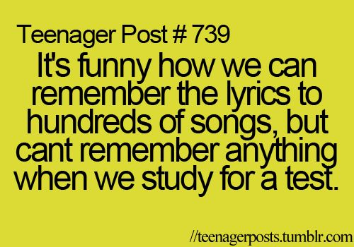 it's funny how we can remember the lyrics to hundreds of songs, but can't remember anything when we study for a test