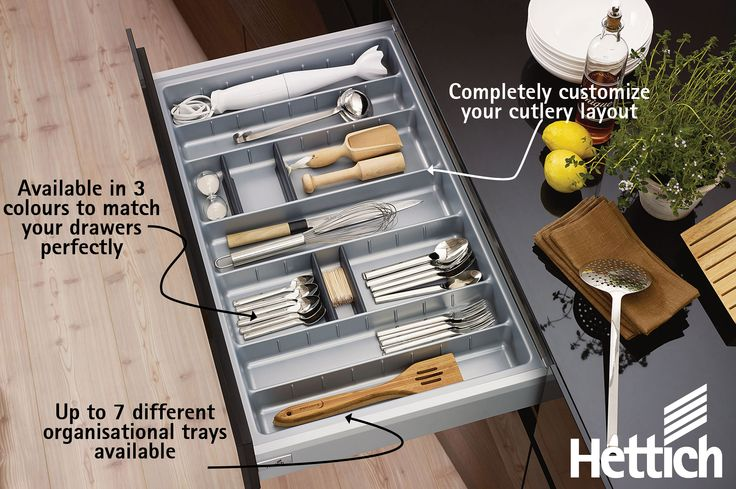 Completely customize your Hettich ArciTech drawer with up to 7 organizational inserts in 3 colours. Click on the pin to see more on our website! #kitchenorganization #kitchendrawers