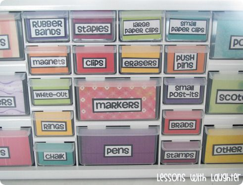 Colorful Toolbox Organizer! Turn a regular Home Depot toolbox organizer into a mini-supply organizer. - I think I'll try this to fill one of the cubbies next to my desk...so great for organizing all of the little cluttery things!