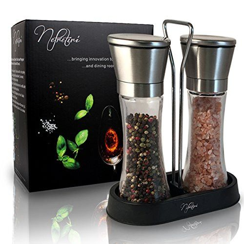 Nefretiri Brushed Stainless Steel Salt & Pepper Grinder Set with Stand