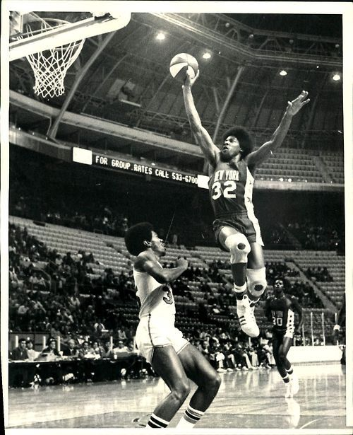 """1974-75 Julius """"Dr. J"""" Erving Flying High over Spirits of St. Louis Fly Williams for a Lay Up."""