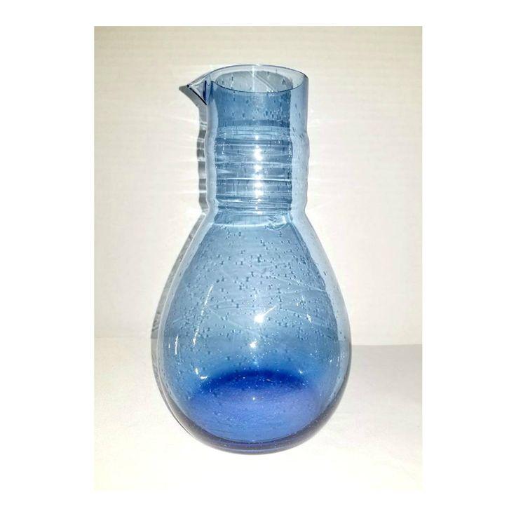 Hand Blown Glass Carafe,Scandinavian Glass,Bubbles,Blue Glass Carafe,Hand Blown Glass Pitcher,Pinched Spout,Scandinavian,Mid Century,1960s http://etsy.me/2CzeLSp #housewares #blue #housewarming #mothersday #no #glass #handblownglass #junkyardblonde #gotvintage