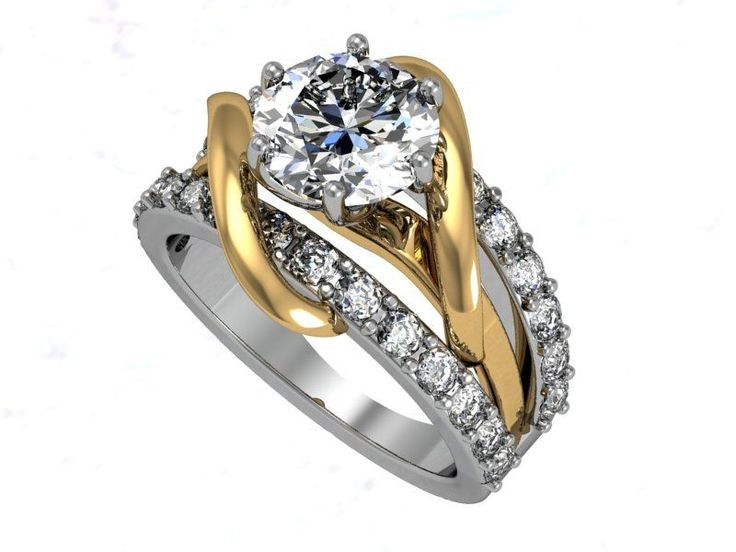 Fancy Custom Made Two Tone Engagement Ring