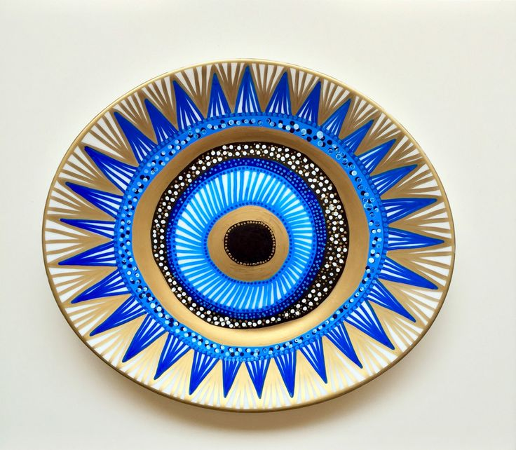 Evil Eye Decor - Wall Evil Eye - Original Art - Art Contemporary - Wall Hanging Decor - Wall Decor Evil Eye - Decorative Plate - Blue Black by biancafreitas on Etsy