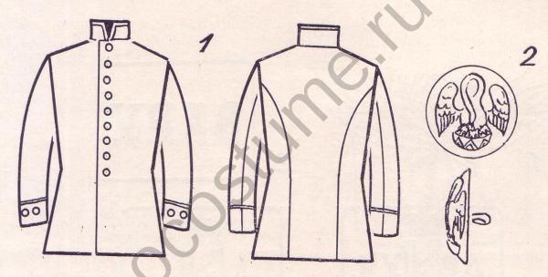 Классная форма воспитанников коммерческих училищ. Россия, 1900 год. 1 — куртка; 2 —пуговица