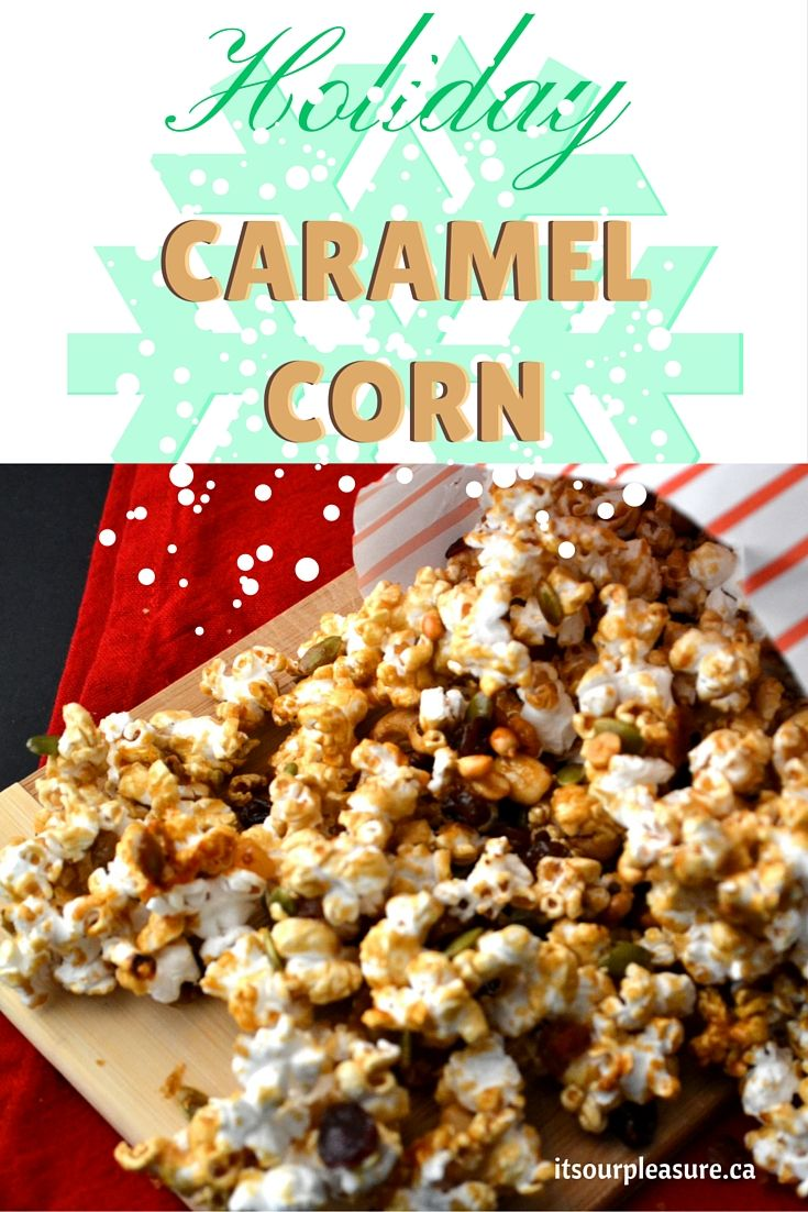 Delicious pieces of caramel covered popcorn clusters tossed with a cranberry fruit and nut mix – a perfect treat for the holidays.
