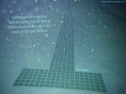 I'm the happiest training; following the black line at the bottom of the pool as I search for perfection. --Ian Thorpe