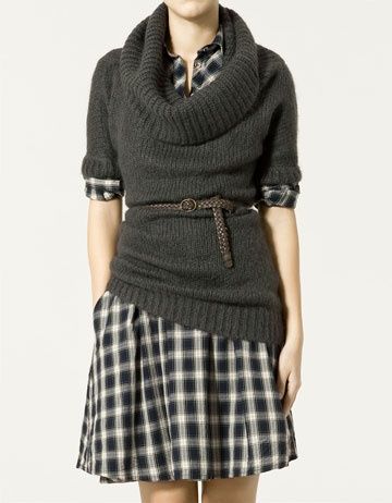 Try black cowl with dress, skirts