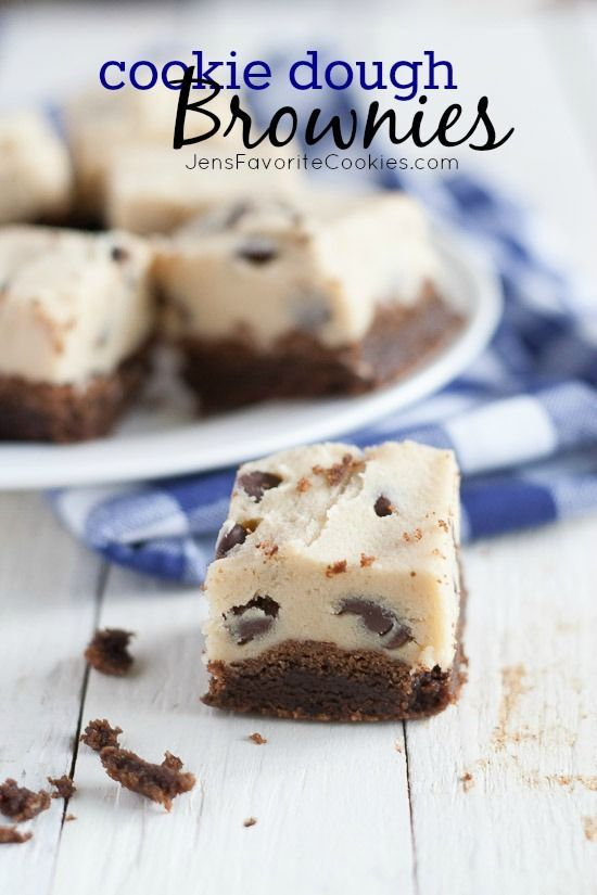 Cookie Dough Brownies from JensFavoriteCookies.com - a fun and easy dessert!