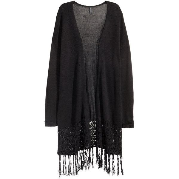H&M Fringed cardigan ($31) ❤ liked on Polyvore featuring tops, cardigans, black, jackets, kimonos, black long sleeve cardigan, lace cardigan, long sleeve tops, long fringe cardigan and h&m cardigan