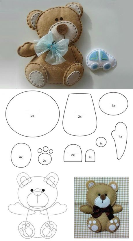 Patterns of toys with their own hands, toys made of felt, fabric, soft