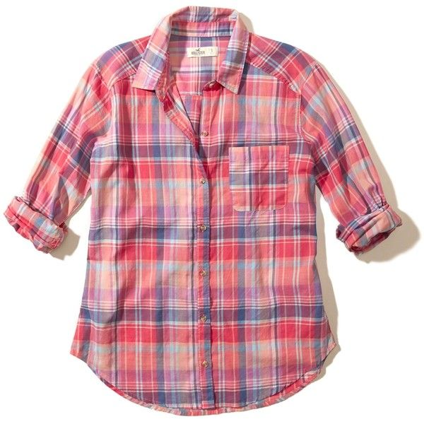 Hollister Plaid Cotton Shirt ($20) ❤ liked on Polyvore featuring tops, pink plaid, plaid top, red plaid top, shirt top, red top and pink shirts