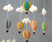 Vintage hot air balloons baby mobile