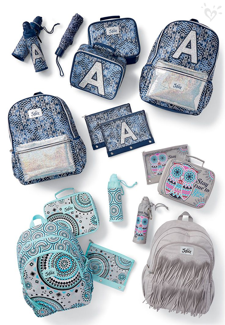 Personalize and pack your school supplies in made-to- match bags.