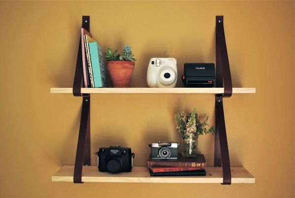 Weekend Project: How to Make a Leather Strap Shelf