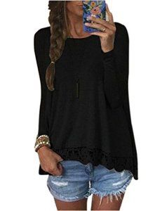 Blouse Femme Manches Longues Dentelle Ample Col Rond Sexy Tee-shirt Hauts Mode