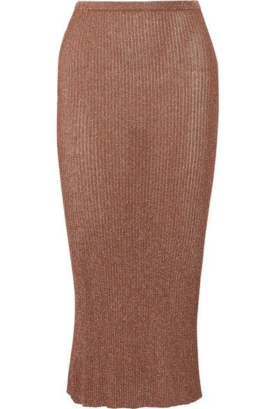 Bronze ribbed-knit Slips on 82% viscose, 18% polyester Designer color: Rose Gold Dry clean