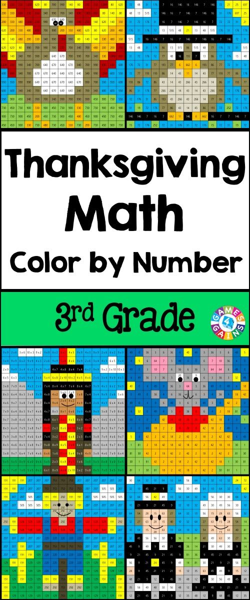 Thanksgiving Math Color-by-Number set comes with 6 Thanksgiving math color-by-number activities for reviewing 3rd grade math skills. This Thanksgiving math set is perfect to use in centers, in small groups, or with the whole class!