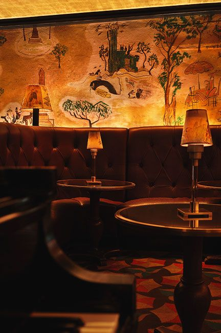Bemelmans Bar, New York City.  Original murals by Madeline author and illustrator Ludwig Bemelmans himself. New Hotel Project Designs