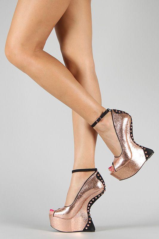 Liliana Tiba Studded Spike Heel Less Ankle Strap Curved Wedge