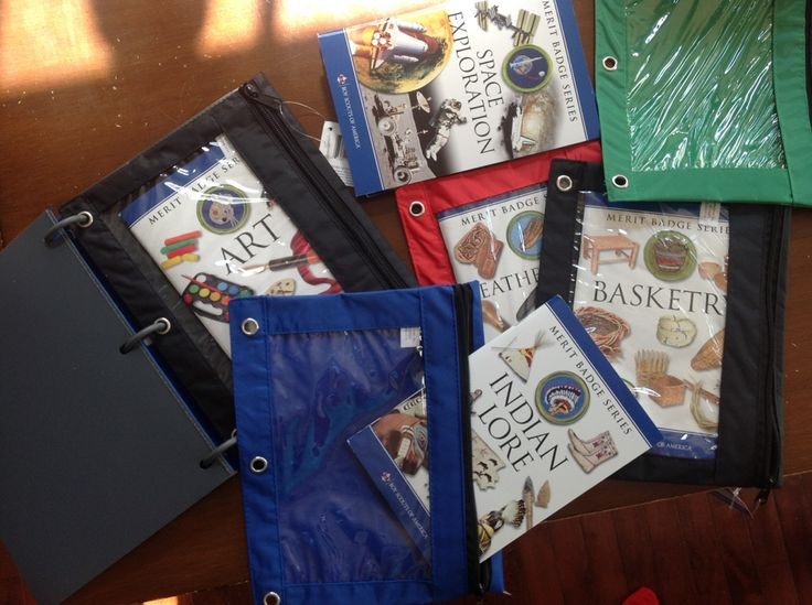 For Boy Scout Merit Badge books...organize them using three ring pencil holders (Dollar Store), and a small binder, which also happened to come with some pockets and paper as well! (Five Below).  Keeps the books protected, and also handy...put supplies needed in each pocket, and take individual bags/books to class, or take the whole binder.  Love it!