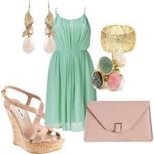 bridesmaids. Love the mint, blush & gold together